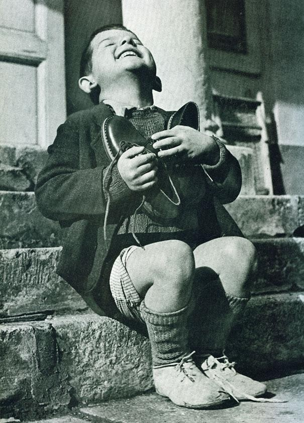 Austrian boy excited shoes 1946.jpg
